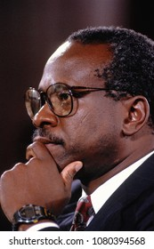 Washington DC., USA, September 10, 1991  Clarence Thomas nominee for Associate Justice of the United States Supreme Court ponders questions to him from members of the Senate Judiciary Committee