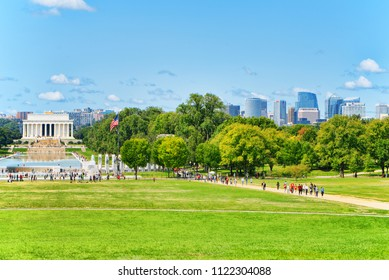 Washington, DC, USA - September 10,2017 :View from the lawn near Washington Monument to urban cityscape of Washington district- Rosslyn.