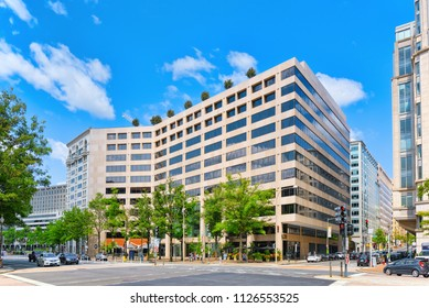 Washington, DC, USA - September 10,2017 : Urban cityscape of Washington, DC. Hudson Institute and Department of Justice.