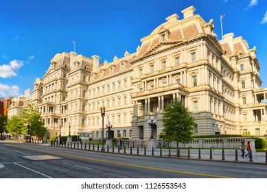 Washington, DC, USA - September 10,2017 : Eisenhower Executive Office Building on Pennsylvania Ave near the White House.