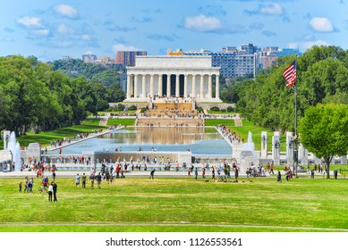 Washington, DC, USA - September 10,2017 : Lincoln Memorial U.S. National Register of Historic Places and World War II Memorial.