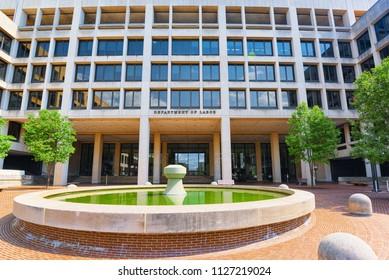 Washington, DC, USA - September 10,2017 : Urban cityscape of Washington, United States Department of Labor, 200 Constitution Ave NW.