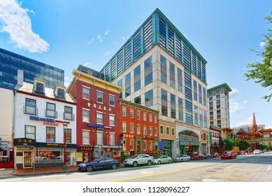 Washington, DC, USA - September 10,2017 : Urban cityscape of Washington, DC. Downtown district, Washington is capital of United States.
