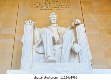 Washington, DC, USA - September 10,2017: Monument for Abraham Lincoln, by Daniel Chester French in Lincoln Memorial U.S. National Register of Historic Places.
