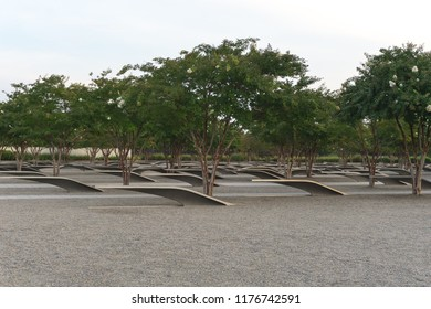 Washington, DC / USA - September 11, 2018: The Pentagon 9/11 Memorial stands in silent honor to those whose lives were taken 17 years ago on American Airlines Flight 77 and at the Pentagon.