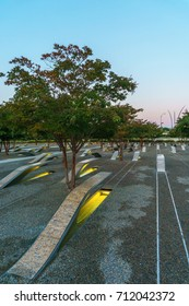 WASHINGTON, DC, USA - SEPTEMBER 11, 2017: The Pentagon Memorial stands in solemn remembrance of the 184 souls who perished in the terrorist attack on the Pentagon 16 years ago.