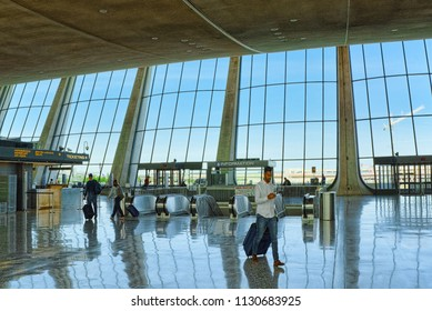 Washington, DC, USA - September 11,2017 : Interior, inside Dulles International Airport with people and tourists.
