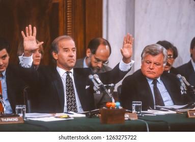 WASHINGTON, DC, USA - SEPTEMBER 12, 1991: Senator Joseph Biden, Chairman U.S. Senate Judiciary Committee, left, and Senator Ted Kennedy, during Supreme Court nominee Clarence Thomas hearings.