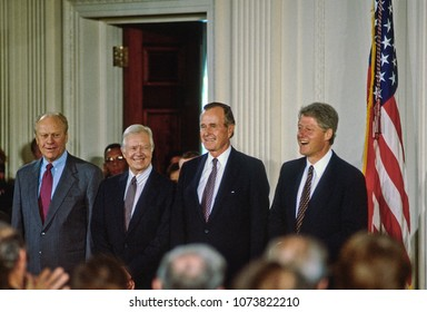 Washington DC., USA, September 14, 1993Former Presidents Ford, Carter, and Bush and current President Clinton attend the NAFTA signing ceremony in the East room of the White House.