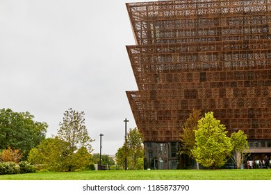 Washington DC, USA - September 14, 2018: National Museum of African American History and Culture exterior side view