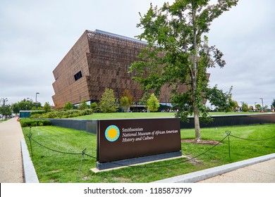 Washington DC, USA - September 14, 2018: National Museum of African American History and Culture exterior view with sign