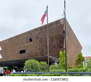 Washington DC, USA - September 14, 2018: National Museum of African American History and Culture outside street view