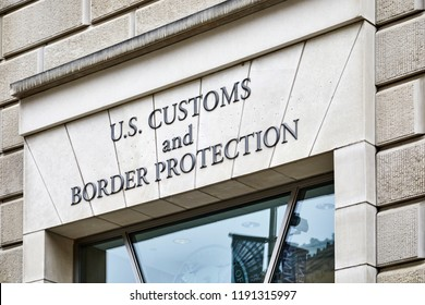 Washington DC, USA - September 14, 2018: Sign above the entrance to the US Customs and Border Protection building  on 14th Street