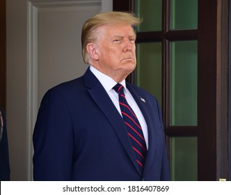 Washington DC, USA - September 15, 2020: President Donald Trump participates in the signing ceremony of the Abraham Accords  between Israel, UAE and Bahrain at the White House in Washington, DC.
