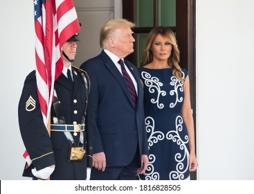 Washington DC, USA - September 15, 2020:  Donald Trump and Melania Trump attend the signing ceremony of the Abraham Accords  between Israel, UAE and Bahrain at the White House in Washington, DC.