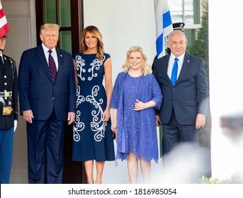 Washington DC, USA - September 15, 2020:  Donald Trump, Melania Trump, Benjamin Netanyahu and Sara Netanyahu  attend the signing ceremony of the Abraham Accords at the White House in Washington, DC.
