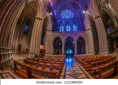 WASHINGTON DC, USA - SEPTEMBER 2, 2018: Interior of the National Cathedral  know as Cathedral Church of Saint Peter and Saint Paul in the Diocese of Washington. Was built between in 1907 and 1990.
