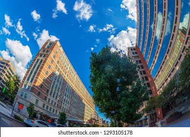 WASHINGTON DC, USA - SEPTEMBER 2, 2018: Buildings in Washington DC, near Dupont Circle, at the intersection of Connecticut Ave NW and 19th St NW.