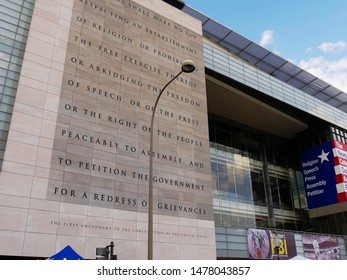 Washington, D.C., USA- September 2017: The First Amendment text printed outside the Newseum, one of the main attractions at Pennsylvania Avenue, Washington, District of Columbia.
