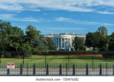 WASHINGTON, DC, USA - SEPTEMBER 23, 2017: Months after the South fence line at the White House was closed to tourists, it remains closed with no plans to re-open.