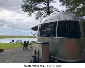 WASHINGTON DC, USA - SEPTEMBER 24, 2018: An Airstream Sport travel trailer parked at a campground.