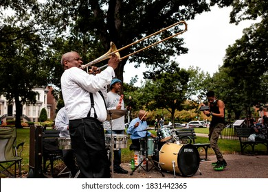 """Washington, DC, USA - September 26, 2020: A band plays """"A Change is Gonna Come,"""" for protesters who encountered the band during the March for Justice, a weekly protest against police brutality"""