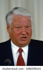 Washington, DC., USA, September 27,1994 Russian President Boris Yeltsin delivers remarks during joint press conference with President William Clinton  in the East Room of the White House.