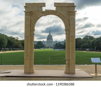Washington, DC / USA - September 28, 2018: A 3D printed reproduction of the 3rd Century Palmyra Triumphal Arch is on display on the National Mall. The original was destroyed by ISIS in 2015.