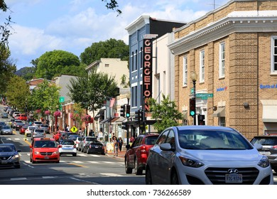 Washington DC, USA - September 3, 2017: Sunday afternoon in Wisconsin Avenue in Georgetown. Georgetown Founded in 1751 in the Province of Maryland.