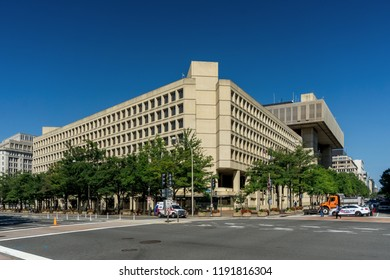 Washington, DC / USA - September 30, 2018: FBI Director Wray, who works here at FBI Headquarters, has been ordered to conduct a supplemental background check on Brett Kavanaugh.