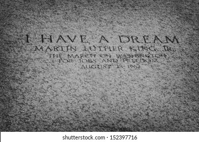 """WASHINGTON DC, USA - SEPTEMBER 30, 2009: An inscription on the floor of the Lincoln Memorial marks the spot from which, in August 1963, Martin Luther King Jr. delivered his """"I Have a Dream"""" speech."""