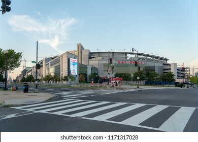 Washington DC, USA - September 3rd, 2018: Exterior of Nationals Park stadium,  a baseball-specific park along the Anacostia River in the Navy Yard neighborhood of Washington, D.C.