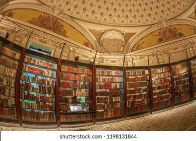 WASHINGTON DC, USA - SEPTEMBER 4, 2018: Inside in one room of the Library of Congress. It is the research library officially serving the US Congress and the national library of the USA.