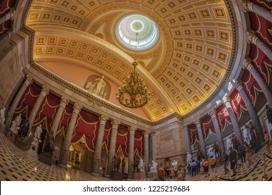 WASHINGTON DC, USA - SEPTEMBER 4, 2018: Large angle view at interior of Statuary Hall in the US Capitol building.