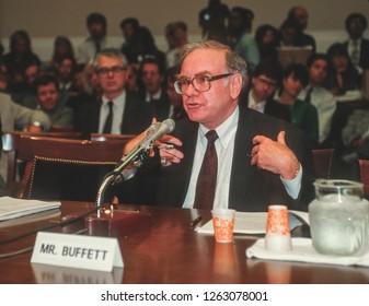 WASHINGTON, DC, USA - SEPTEMBER 4, 1991: Warren Buffett, Chairman Salomon Brothers, testifies before U.S. House Subcmte. on Telecommunications.