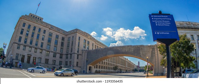 WASHINGTON DC, USA - SEPTEMBER 5, 2018: The famous Wilson and Knap recognition memorial arch at Department of Agriculture.