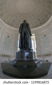 WASHINGTON DC, USA - SEPTEMBER 5, 2018: Large angle view with Thomas Jefferson statue in the Jefferson Memorial.On the walls of the memorial are Jefferson´s words from the Declaration of Independence.