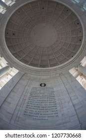WASHINGTON DC, USA - SEPTEMBER 5, 2018: Large angle view with Jefferson´s words from the Declaration of Independence, inside of Jefferson Memorial.