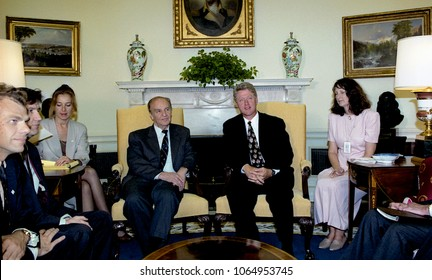 Washington, DC., USA, September 8, 1993 Alija Izetbegovic Chairman of the Presidency of Bosnia and Herzegovina meets with President WIlliam Clinton in the Oval Office of the White House.
