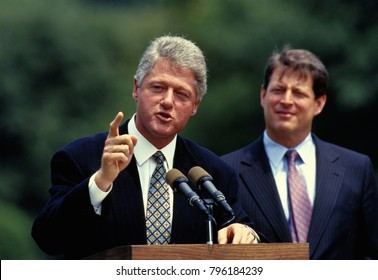 Washington DC., USA,10th August, 1993 President William Clinton and Vice President Albert Gore address the crowd on the South Lawn of the White House to witness the signing of the Budget defict bill