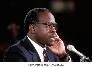 Washington DC. USA,10th September 1991  Clarence Thomas nominee for Associate Justice of the United States Supreme Court ponders questions from Senate Judiciary Committee during confirmation hearings