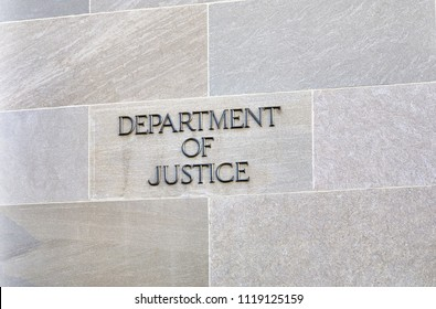 Washington DC, USA-June 5, 2018: Robert F Kennedy Department of Justice building sign
