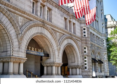 Washington DC, USA-June 5, 2018: Trump International Hotel sign in the arches of the old post office building facing Pennsylvania Avenue