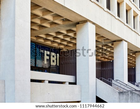 Washington DC, USA-June 5, 2018: J. Edgar Hoover FBI Building Entrance