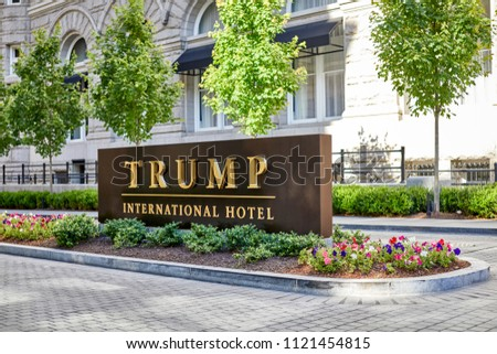 Washington DC, USA-June 5, 2018: Driveway Entrance Sign to Trump International Hotel on Pennsylvania Avenue