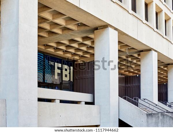 Washington DC, USA-June 5, 2018: J. Edgar Hoover FBI Building Entrance