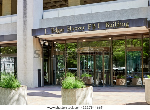 Washington DC, USA-June 5, 2018: J. Edgar Hoover FBI Building Entrance for business appointments