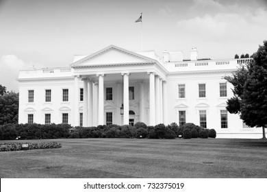 Washington DC. White House. Black and white retro style.