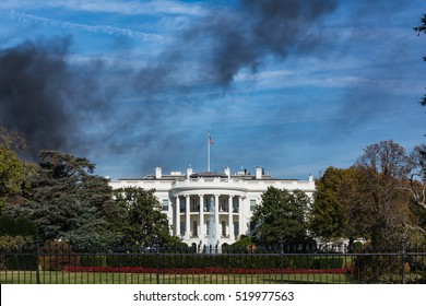 Washington DC White House Monument Black Smoke House Fire Blue Sky Emergency