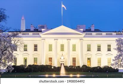 Washington, DC at the White House in spring season at twilight.